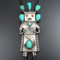 HUGE OLD PAWN NAVAJO STERLING SILVER TURQUOISE CEREMONIAL KACHINA BOLO TIE by SP
