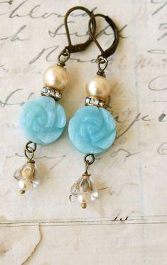 Pale bluerose,shabby chic flower earrings