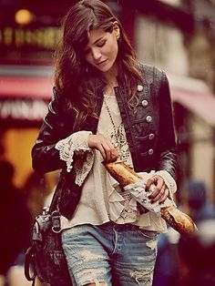 Free People Military Vegan Leather Jacket