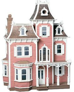 Bring a touch of downtown Boston to your hometown with the Beacon Hill Dollhouse Kit. Take one look and you'll know why the Beacon Hill has topped our sales charts for years. The house's Mansard roof, Victorian Dollhouse, Dollhouse Kits, Victorian Dolls, Dollhouse Miniatures, Pink Dollhouse, Haunted Dollhouse, Antique Dolls, Miniature Houses, Miniature Dolls