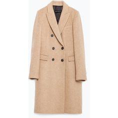Zara Masculine Coat (£120) ❤ liked on Polyvore featuring outerwear, coats, jackets, zara, camel, fur-lined coats, camel coat, leather-sleeve coats, zara coats and beige coat