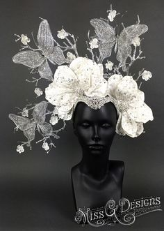 Silver & White Butterfly Headdress by MissGDesignsShop on Etsy