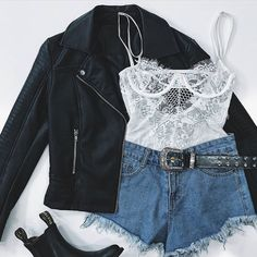 lace top and leather jacket