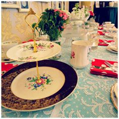 Vintage china cake stand at Buy My Dress Waterford Vintage China, Afternoon Tea, I Dress, Tea Pots, Table Decorations, Cake, Sweet, Stuff To Buy, Collection