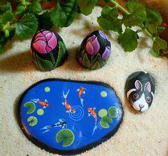 Tulips, pink fushia, dollhouse miniature, fairy garden, painted rock mini by RockArtiste, $15.00