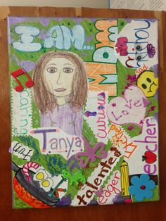 I Am... Project.  Students need to put pictures, words, illustrations, quotations, etc. to describe themselves. This is used for the unit on biographies and autobiographies.  CCSS - SL.7.6: adapt speech of contexts and tasks; SL.7.5: include visual display in presentation