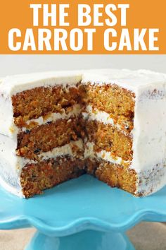 The Best Carrot Cake Recipe. A moist, tender carrot cake covered in a sweet cream cheese frosting. The perfect carrot cake recipe! Easy No Bake Desserts, Best Dessert Recipes, Fun Desserts, Delicious Desserts, Cake Recipes, Yummy Food, Amazing Recipes, Drink Recipes, Best Carrot Cake