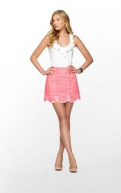 Lilly Pulitzer: Tate Skirt   Yummy Melon Painterly Gingham: Fluorescent (98/59)