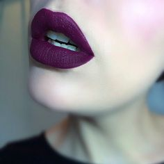 purple lipstick.