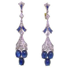 White Gold, Yellow Gold, Cabachon Sapphire & DIamond Earrings | From a unique collection of vintage dangle earrings at https://www.1stdibs.com/jewelry/earrings/dangle-earrings/