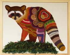 Freeform crocheted Racoon by Ann*Benoot, inspired by Zentangle Drawing of power animals. Textile art 'painting' 50x40 cm.