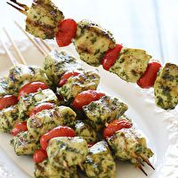 Grilled Pesto Chicken and Tomato Kebabs by Skinny Taste