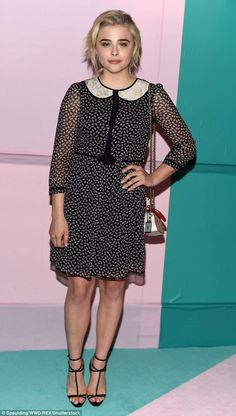 Bob's your uncle! Chloe Grace Moretz debuted her new shorter haircut as she wore a  collared patterned dress  at the CFDA Fashion Awards in New York on Monday
