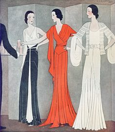 October 1931 Fashion From the October 1931 issue of Ladies Home Journal. 1930s Fashion, Art Deco Fashion, Retro Fashion, Vintage Fashion, Victorian Fashion, Fashion Fashion, Fashion Illustration Vintage, Vintage Illustrations, Beautiful Lines