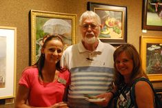 From left, Shannon Hanna, of RS Hanna Gallery; Mort Solberg; and SKB artist and instructor Wanda Mumm.