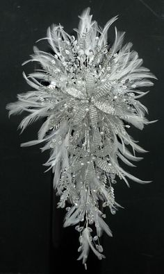 STUNNING BESPOKE CRYSTAL & FEATHER BRIDAL BOUQUET - ANY COLOUR ! free postage