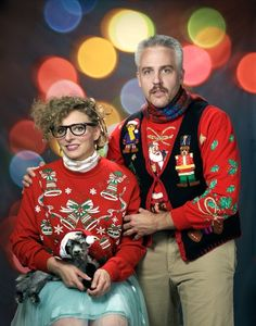 25 Ugly Christmas Sweaters You Wish You Had. -This NOT my style of fashion, but had to pin due to it's so classic for ugly christmas sweaters & the photo is hilarious, esp. the baby goat with the santa hat in her lap. Can't get any better than this.