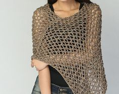 Hand knit Little cotton poncho knit scarf knit shrug in Mocha - ready to ship