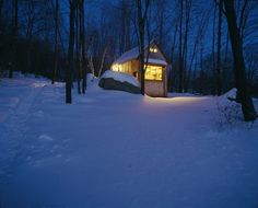 Writing cabin in Northwest Connecticut, designed by Charlie Myer and built by author Michael Pollan as detailed in his book 'A Place of My Own'. -- Photograph by John Peden. Love the idea of a writing/studio cabin. Creativity flourishes best when you remove yourself from distractions and live as simply as possible.
