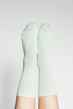 HANSEL FROM BASEL  MINT FLATKNIT SILK CREW SOCK  $22.00     Flatknit silk crew socks with a light rib above the ankle. Available in both mint and wheat. Fabric is a silk, nylon and spandex mix.