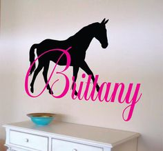 Horse Name Decal - Initial and Name with Horse - Vinyl Wall Decal for Baby Nursery-Teen Bedroom Girl Teen Decal Size - Select a size above    Item #