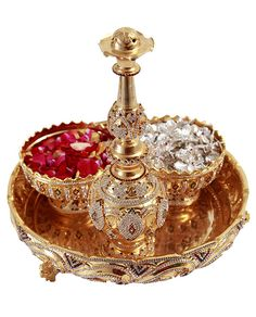 Gold plated pooja set