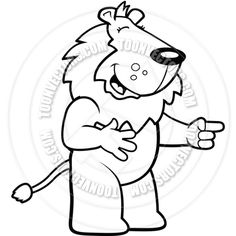Lion Laughing (Black and White Line Art)