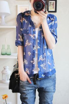 Light, flowy button down. Casual look.