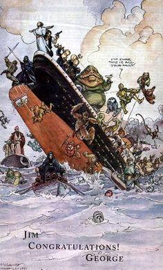 Em 1998, quando Titanic ultrapassou StarWars na bilheteria, Georges Lucas enviou isso para James Cameron... :) [Via Adoro Cinema]