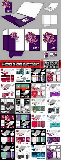 Collection of vector image template folder business card box for cutting 25 Eps