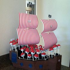 For Pirate Theme Party.... Pirate Cake Pops and Pirate Ship Display.