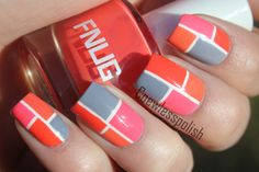 Five color colour nail art: light dirty blue, soft pink, orange and fuchsia hot pink squares with a white line #geometric #retro
