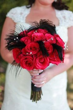 Black and Red Bride and Groom Details