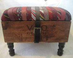 Power Tie Wine Crate Ottoman
