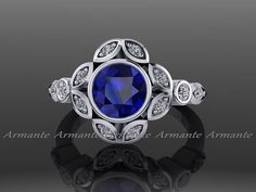 Blue Sapphire Leaf Flower Engagement Ring, Diamond Engagement ring, 14K White Gold Diamond Ring RE00028 $920.00 USD