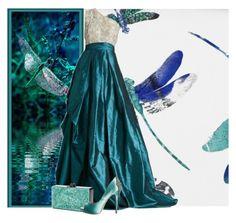 """Dragonfly"" by bellamimi1207 ❤ liked on Polyvore featuring ファッション, Osborne & Little, Naeem Khan, Edie Parker と Badgley Mischka"