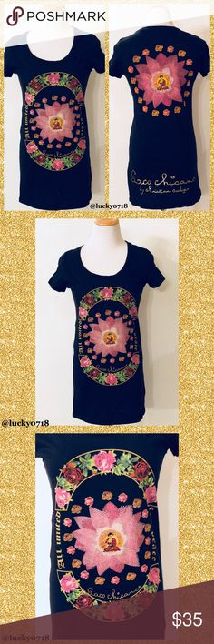 """Paco Chicano by Christian Audigier Floral Top Sz S Paco Chicano by Christian Audigier Black Floral Buddha Rhinestone Top Sz S, retail around $195, gently worn and washed in good condition, says """"All United For Peace"""", beautiful print work on front and back, stones on front, scoop neck, short sleeve, top shoulder measured down front 28"""", armpit to armpit 17"""", back top center measured down about 28"""", please know sizing 🚫No Trades🚫 Christian Audigier Tops"""