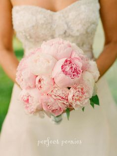 A Pink Peonies Bouquet ,white chiffon princess ball gown