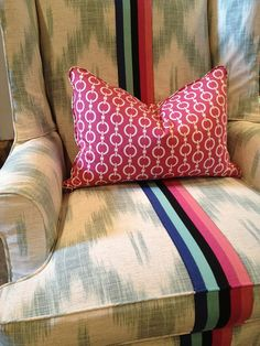 Arm Chair, wingback, Jamie, isuwannee, stripe, ribbon, reupholstered, Could make a slipcover