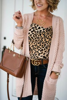 620fc36c58  34 Pink Cardigan + Leopard Cami. Pink CardiganLeopard SweaterGlamourFashion  ...