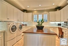 love the big open concept of a laundry, craft, utility room with an island - 1931 Port Ramsgate Pl, Newport Beach, CA 92660 Laundry Craft Rooms, Mudroom Laundry Room, Laundry Room Storage, Laundry Room Design, Mud Rooms, Small Craft Rooms, Storage Room, Room Organization, Laundry Room Island