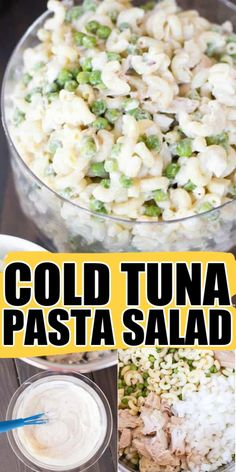 Cold Tuna Pasta Salad is an old fashioned recipe that is perfect for picnics, potlucks, or anytime you need a delicious and easy to make side dish. Best Salad Recipes, Tuna Recipes, Seafood Recipes, Cold Pasta Recipes, Best Potato Salad Recipe, Recipe Pasta, Party Recipes, Tuna Macaroni Salad, Kitchens