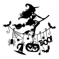 Silhouette Design Store - View Design #157375: witch halloween scene Witch Silhouette, Silhouette Vinyl, Silhouette Portrait, Silhouette Design, Halloween Scene, Halloween Cards, Halloween Shirt, Halloween Decorations, Vinyl Designs
