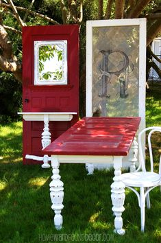 Millwork Repurposed | reuse doors aas tables and hall entry table, homewardfounddecor.com