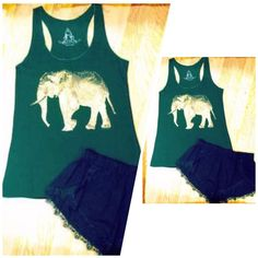 Faded Gold Elephant Tank in Hunter Green ✌️ Zen up your life with this Chill Tank!Super soft & Tag-Less for your comfort! 65% Rayon 35% Polyester Available in sizes S M L          ***PLEASE DO NOT PURCHASE THIS LISTING***  MESSAGE BELOW WITH YOUR SIZE AND I WILL MAKE A PERSONAL LISTING FOR YOU ASAP!!❤️ If you have any questions at all please feel free to ask! Xo                                      #PoshOnLadies! Bohemian Sea Tops Tank Tops