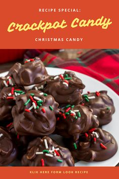 10 Most Misleading Foods That We Imagined Were Being Nutritious! This Easy Crockpot Candy Is Creamy, Chocolatey And Filled With Crunchy Peanuts For A Salty-Sweet Treat. Made In The Slow Cooker With Only 4 Ingredients Easy Candy Recipes, Easy Holiday Recipes, Best Dessert Recipes, Cookie Desserts, Sweet Desserts, Cookie Recipes, German Chocolate Bars, Christmas Baking, Christmas Cookies