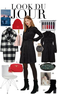 Black dress+black tights+black heeled boots+black and white checked wool coat+red crossbody-bag+red knit beanie+watch. Fall Dressy Casual Outfit 2018