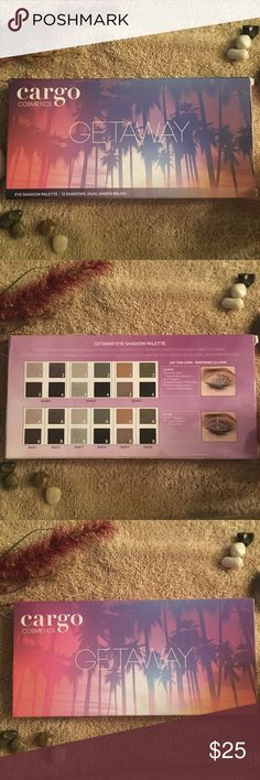 LAST CALL GREAT DEAL!!!! Cargo getaway palette LAST CALL GREAT DEAL - RETAILS $32!!! Let Cargo WILL BE TAKING DOWN 4/6/18 - make offer now! take you on a Getaway with this 12 shade eye shadow palette! Eye Shadows are arranged into 3 quads and 6 duos of expertly coordinated shades to achieve a variety of looks. This palette will help you create your perfect look, no matter where in the world your travels take you!  BNIB/Never used.  BNIB/Never used.  Reasonable offers considered/Open to…