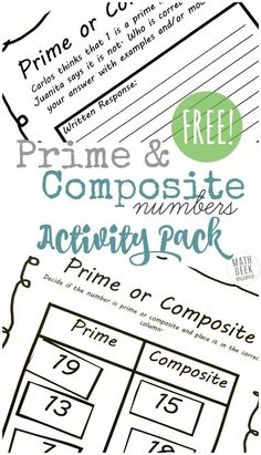 Are you introducing your kids to prime and composite numbers? This interactive lesson pack includes 3 different engaging activities to help kids practice and think deeply about prime and composite numbers. Prime And Composite Numbers, Prime Numbers, Free Homeschool Curriculum, Online Homeschooling, Number Worksheets, School Worksheets, Alphabet Worksheets, Kindergarten Worksheets, Free Activities
