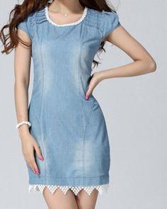 Casual Scoop Neck Lacework Spliced Short Sleeve Denim Dress For Women